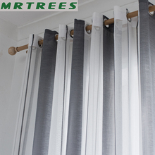 Striped Voile Sheer Curtains for the Kitchen Living room Curtains Bedroom Modern Striped Tulle Voile Curtains for Window Drapes cheap MRTREES Translucidus (Shading Rate 1 -40 ) Left and Right Biparting Open Ceiling Installation Pleated Flat Window Woven