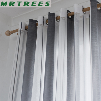 Striped Voile Sheer Curtains for the Kitchen Living room Curtains Bedroom Modern Striped Tulle Voile Curtains for Window Drapes tulle modern window curtains for living room solid sheer curtains for bedroom voile drapes curtains window screening treatments