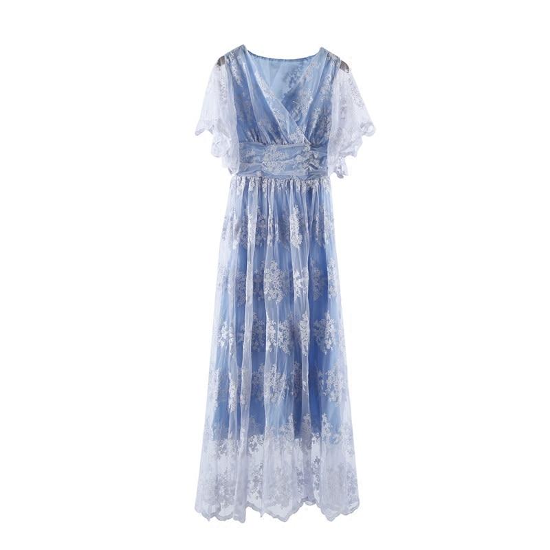 V Vintage Reine Clair Robe Neck Dentelle Long Livraison D'été La Longue Bleu blanc Gratuite PYTx4YqzB