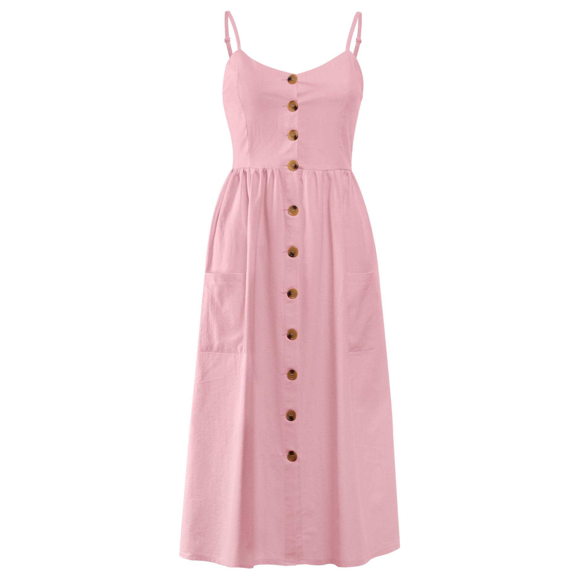 Button Striped Print Cotton Linen Casual Summer Dress 19 Sexy Spaghetti Strap V-neck Off Shoulder Women Midi Dress Vestidos 20