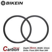 BIKEIN 1 Pair Ultralight 700C Depth 38mm Clincher Tubular 3k Carbon Cycling Road Bike Wheels 23mm
