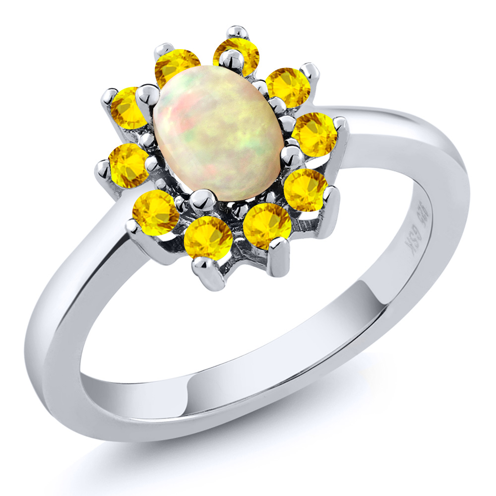 Natural 101 Ct Oval Cabochon White Ethiopian Opal Yellow Sapphire 925  Silver Gemstone Ring 2017 Fashion