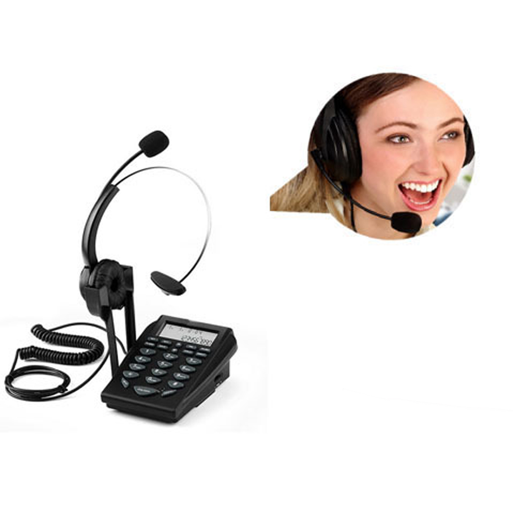 Call Center Phone and Headset Noise Cancelling Office Corded Telephone Mic