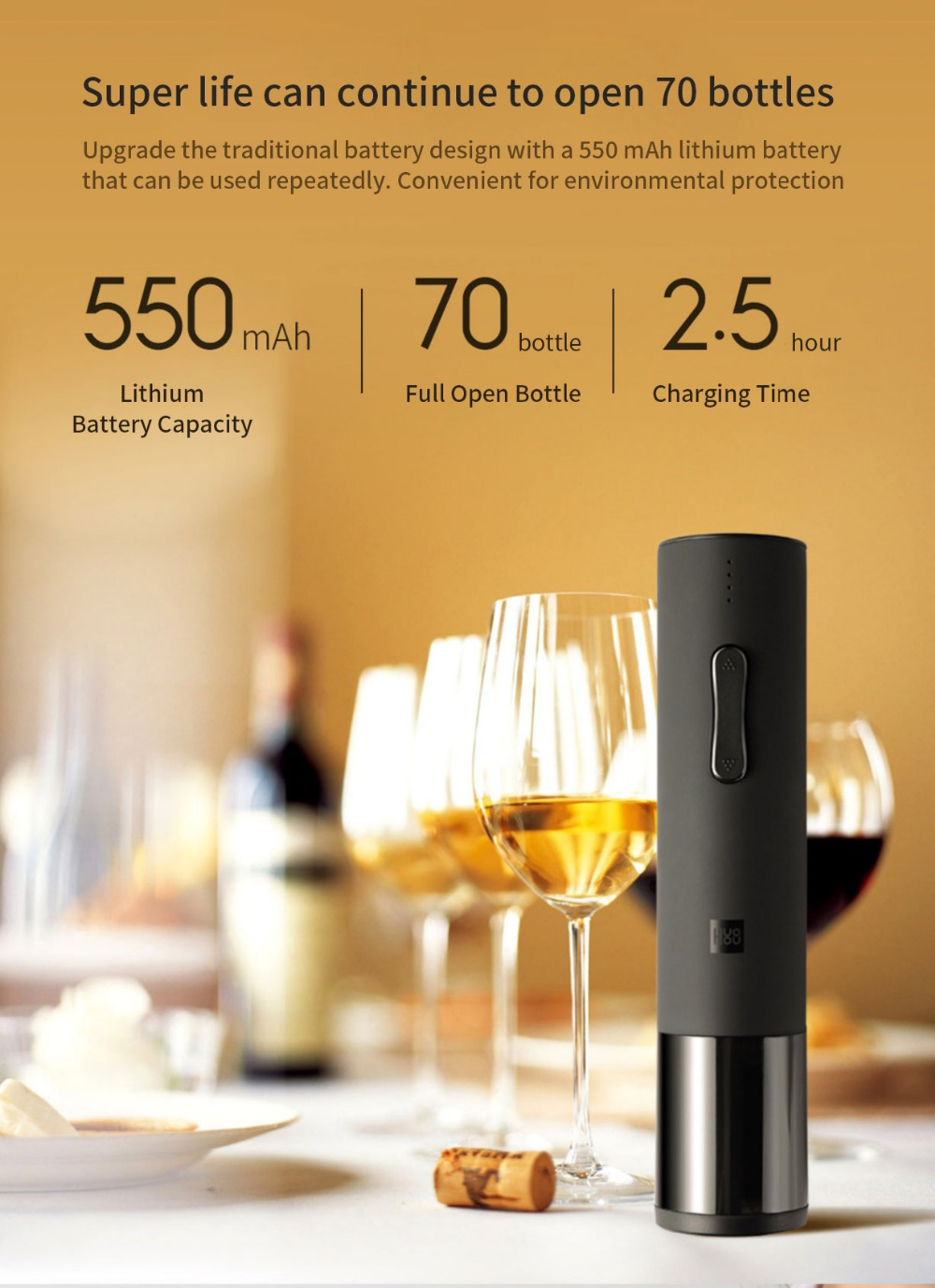 Xiaomi Huohou Automatic Red Wine BottleWine Stopper Electric Corkscrew Foil Cutter Cork Out Tool for Xiaomi Smart Home Kits H15 (11)