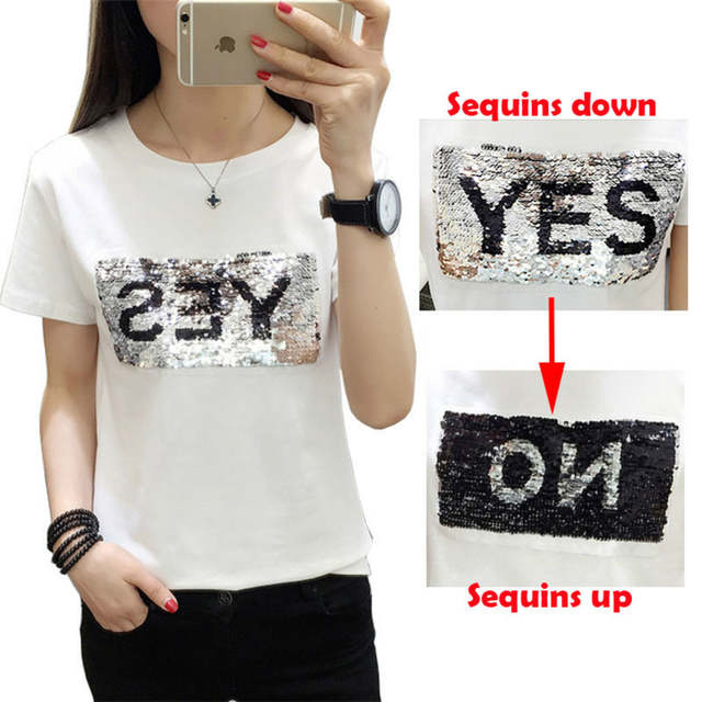 Online Shop New Creative Graffiti Reversible Sequins Yes No Letters shirt  magical color change sequins Tees beads T-shirt Discoloration Tops  ca855cef1b20