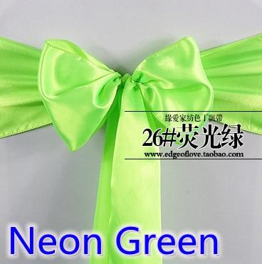 Neon Green Colour Satin Sash Chair Sash Wedding Decoration Bow Tie Chair Band Party Hotel Show Decoration Sash Shiny Colour