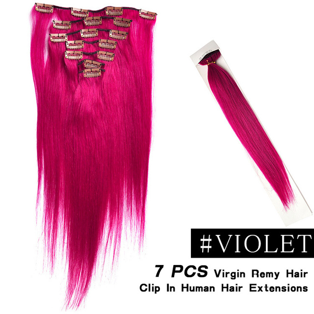 7pcsset 70g Brazilian People Hair Clip In Extension Color Violet