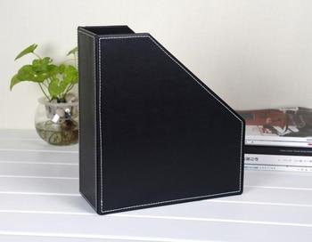 держатель для стола | 1 слот Деревянная Кожа стол файл книга коробка журнал самостоятельно держатель документов органайзер для хранения Чехол черный 224A