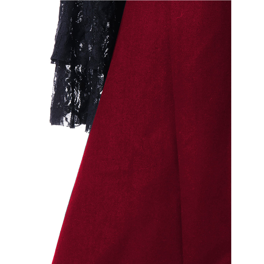VESTLINDA Outerwear Coats Women Lace Panel Lace-Up High Low Coat Winter Coat Women New Fashion Casual Long Tops Black Red 2017 7
