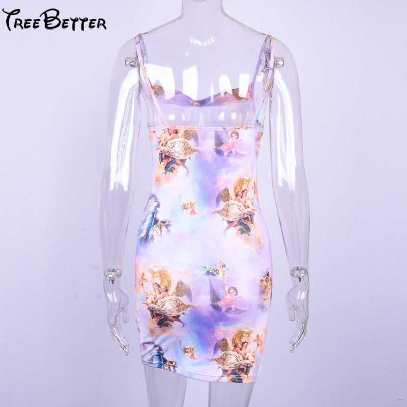 2018 Printed Character Mini Dress Strapless Sheath Sexy Club Party Dress for Women in Dresses from Women 39 s Clothing