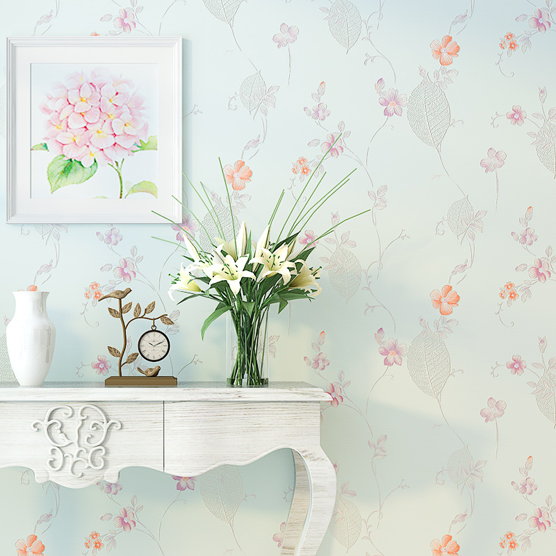 Fresh Rustic Small Flower Wallpaper Roll for Living Room Walls Non Woven Light Blue 3D Floral Bedroom Wall Paper papel de parede fashion 3d wallpaper for walls non woven wallpapers floral for bedroom living room wall paper roll modern 3d paper contact
