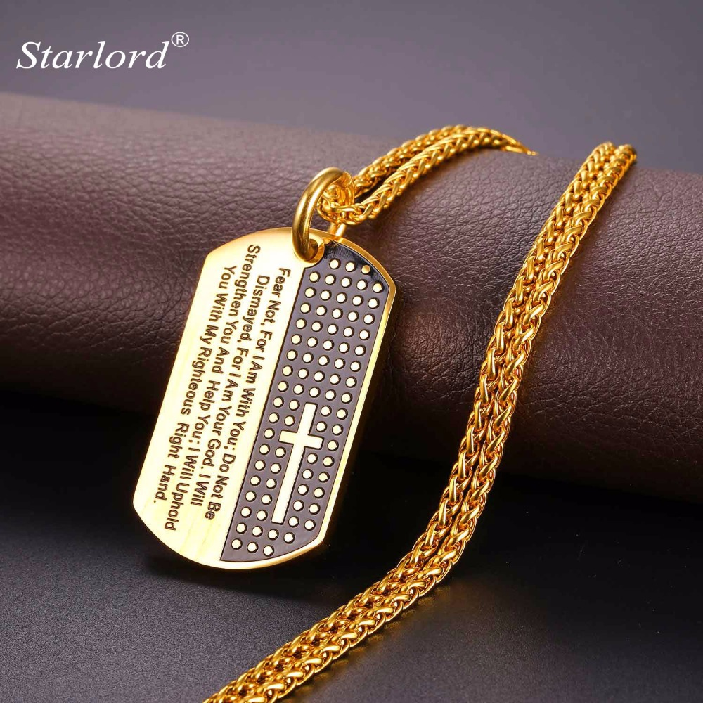 New Hot Inspirational Jewelry Cross Letter Necklace Pendant Yellow Golden Rope Chain Dog Tags Lord Prayer