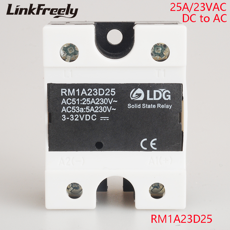 RM1A23D25 5pcs 1-Phase Solid State Relay 220V Output: 25A /24-280VAC input: DC Relay 3.3V 5V 12V 24V 48V SSR Relay Switch Board dc 3 5v 12v mini relay 2 receiver