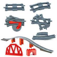 Große Größe Ziegel Spielzeug Batterie Betrieben Zug Track Brücke Set für Kinder Kreative Track Bausteine Kompatibel le Duploed