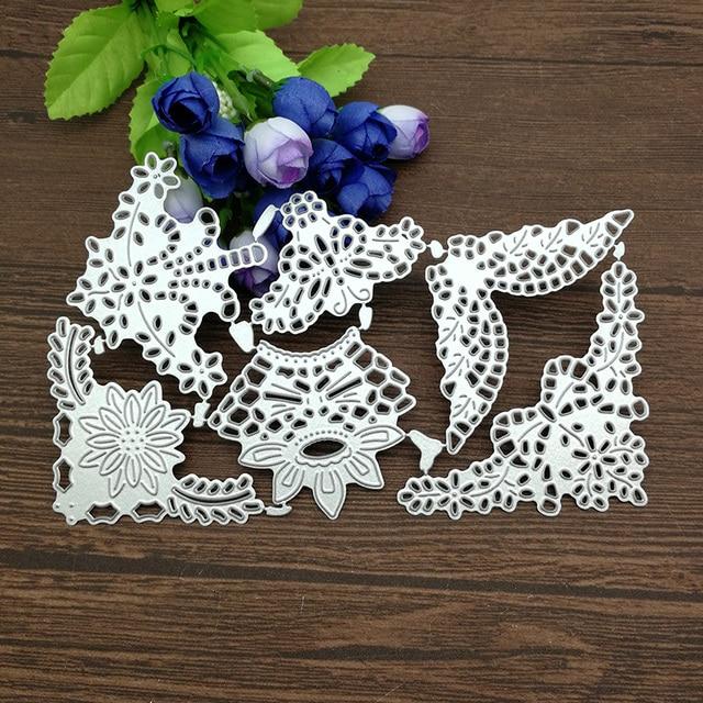 6x corner angle flower background Metal Cutting Dies Stencil Scrapbooking Photo Album Card Paper Embossing Craft DIY
