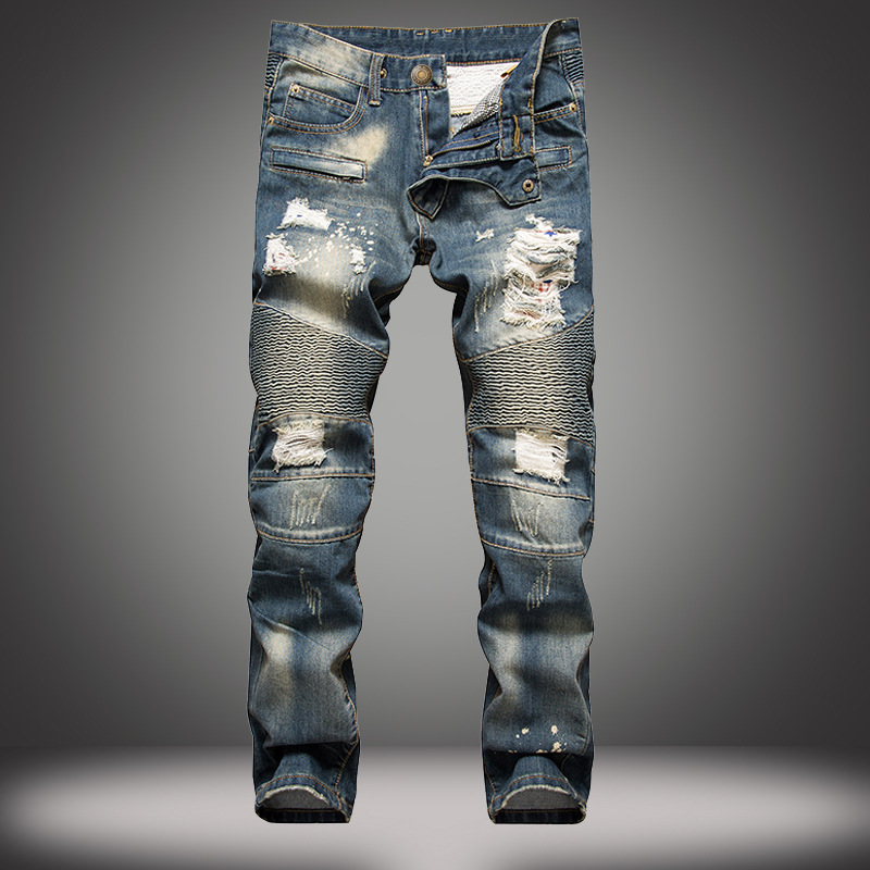 EVJSUSE brand biker jeans corrugated denim pants Slim straight ripped jeans tide men trousers beggars personalized retro Jeans 2017 fashion patch jeans men slim straight denim jeans ripped trousers new famous brand biker jeans logo mens zipper jeans 604