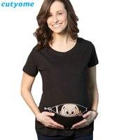 Maternity T-Shirts Cotton Baby Printed Short Sleeve Loose Tank Tops Women tshirt Pregnancy T Shirt Pregnant Long Tee Shirts