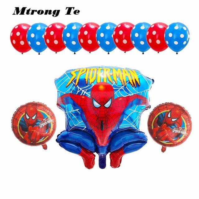 13 pçs/lote spiderman homem aranha do partido do Balão inflável hélio balões De Látex De Bolinhas decoração Meninos Presente da festa de aniversário brinquedo