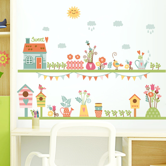 Garden Flower House Wall Decals Kids Room Decorative Stickers Diy Wall Art  Posters Children Gift