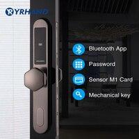 Умный дверной замок WiFi, приложение цифровой дверной замок Bluetooth умный пароль Блокировка ПИН-кода электронный дверной замок с раздвижной вре...