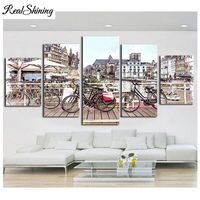 REALSHINING 5D Diamond Embroidery City Bike Multi picture 3d DIY Full Square Rhinestones Painting Home Decor Needlework FS891