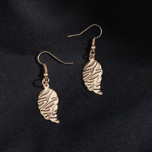 1pair Korean Style Fashion Charm Gold Color Leaf Bead Statement серьги женские Dangle Earring for Women Girls