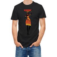 T Shirt African Woman Standing  T-Shirt Hot Topic Men Short Sleeve Interesting Pictures Mens T-Shirt Summer O Neck Cotton