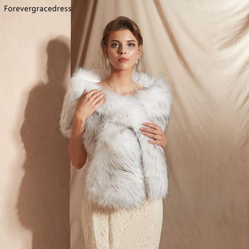 Forevergracedress 2019 Elegant Soft Autumn Winter Faux Fur Bride Wedding Wrap Bolero Jackets Bridal Coats Shawls Scarves PJ331