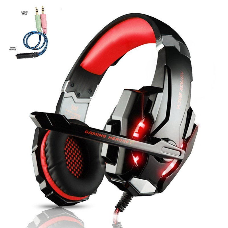 KOTION EACH G9000 3.5MM Stereo Gaming Headset Best casque Deep Bass Gamer Headphone with Mic LED Litht for Computer PS4 PC Gamer ndju deep bass gaming headphone over ear gamer headset headband with mic stereo earphone with light for computer pc gamer
