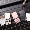 Simple teléfono de dibujos animados lindo panda case para iphone 7 7 plus cat tipo de conejo transparente helada shell para iphone 6 6 s 6 plus 6 splus