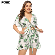PGSD Summer Big size fashion Women clothes Leaf printing Bandage sexy Short-sleeved shorts casual holiday Plus Suit female 4XL
