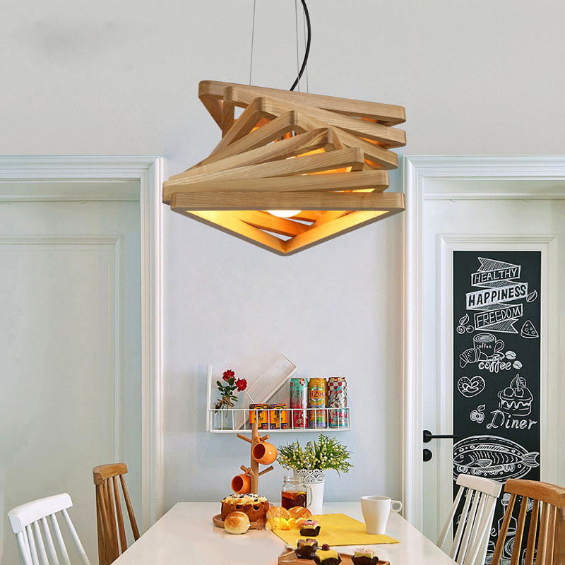 Wood Pendant Light Nordic Creative Dinning Room Pendant Lights Modern Hang Lamp Suspension Luminaire Pendant Lamp modern pendant lights for children kids room bedroom lighting suspension luminaire basketball e27 bulb lamp led pendant light