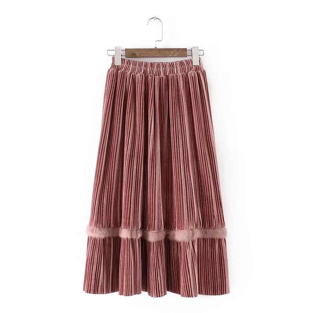 Cintura Mujer Costura Primavera Nuevo Faldas Señoras Alta Color1 Dulce Invierno Terciopelo Para 2018 De Larga color2 Las Piel Falda zPqBOO