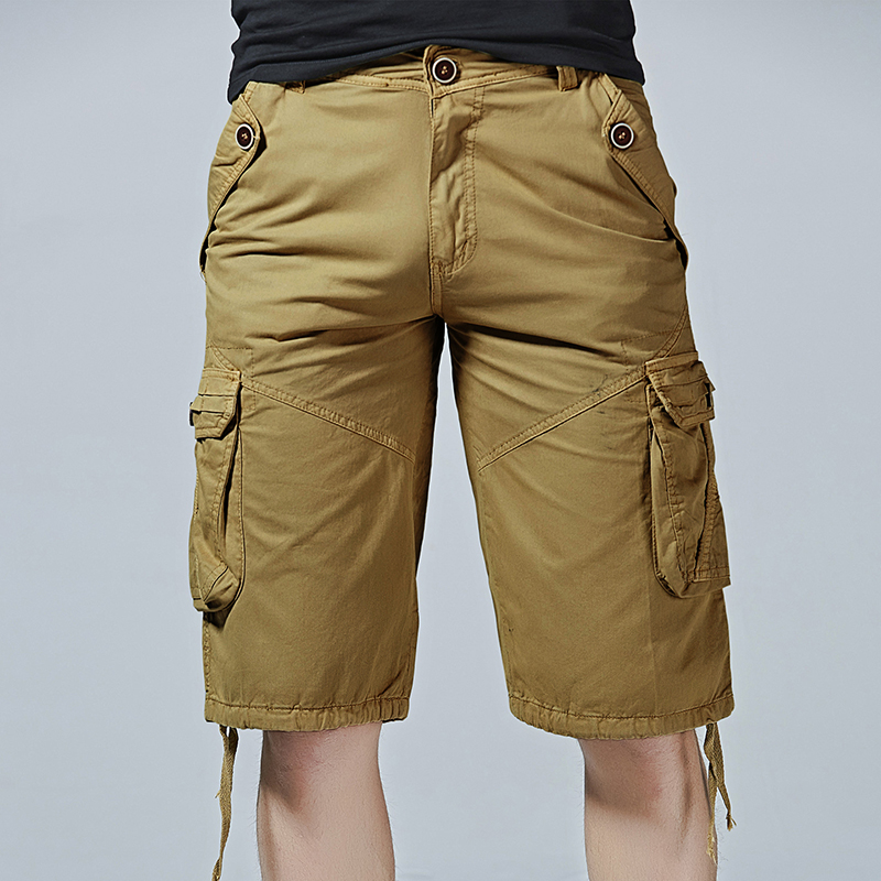 New Men Cargo Shorts Casual Loose Short Pants Camouflage Military Summer Style Thin Male Knee Length Trousers