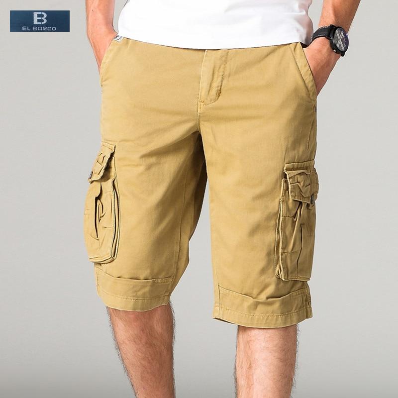 EL BARCO 2017 New Arrival Cotton Many Pockets Casual Shorts Men Cargo Bermuda Zipper Solid