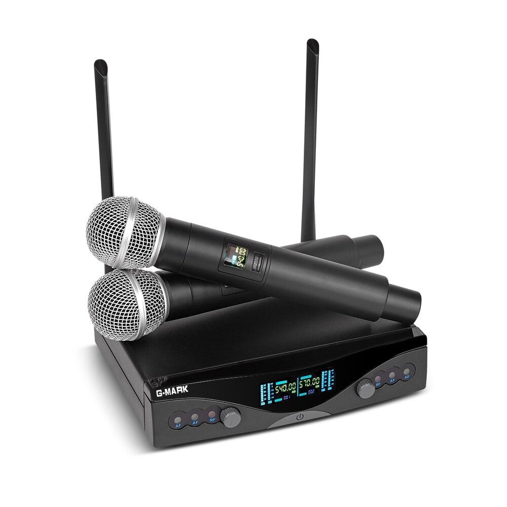 G-MARK Sistema per Microfono Wireless UHF A Lungo Raggio A Doppio Canale 2 Palmare Mic Trasmettitore Karaoke Professionale di Alta Qualità