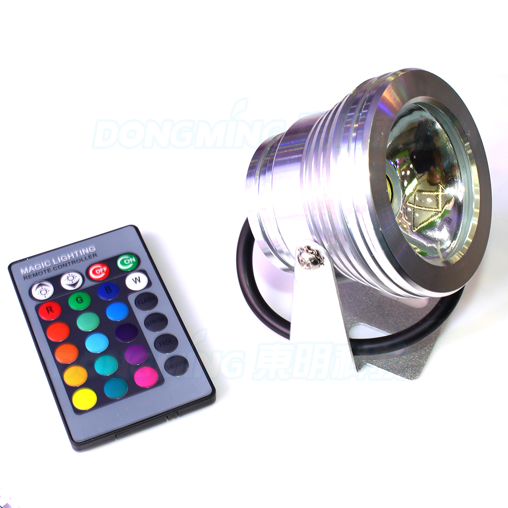 IP68 Waterproof rgb led swimming pool lights DC 12v 10w underwater light +24key controller + 12v 10w waterproof power supply