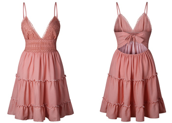 Summer Women Lace Dress Sexy Backless V-neck Beach Dresses 2020 Fashion Sleeveless Spaghetti Strap White Casual Mini Sundress 5