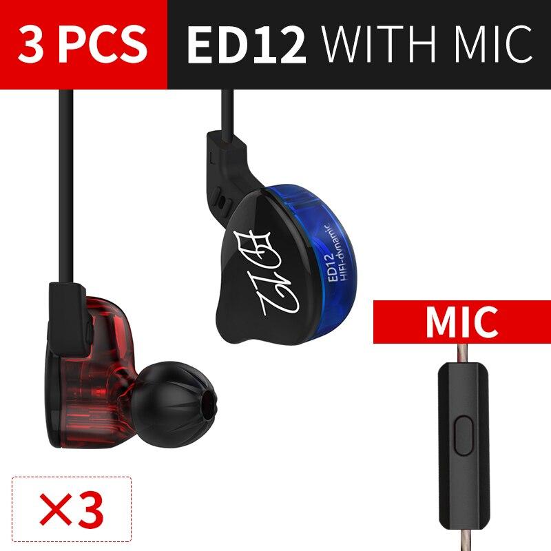 KZ ED12 Haedphone3PCS DJ наушников съемный кабель В Ухо Аудио мониторы изоляция HiFi музыка спортивные наушники С микрофоном