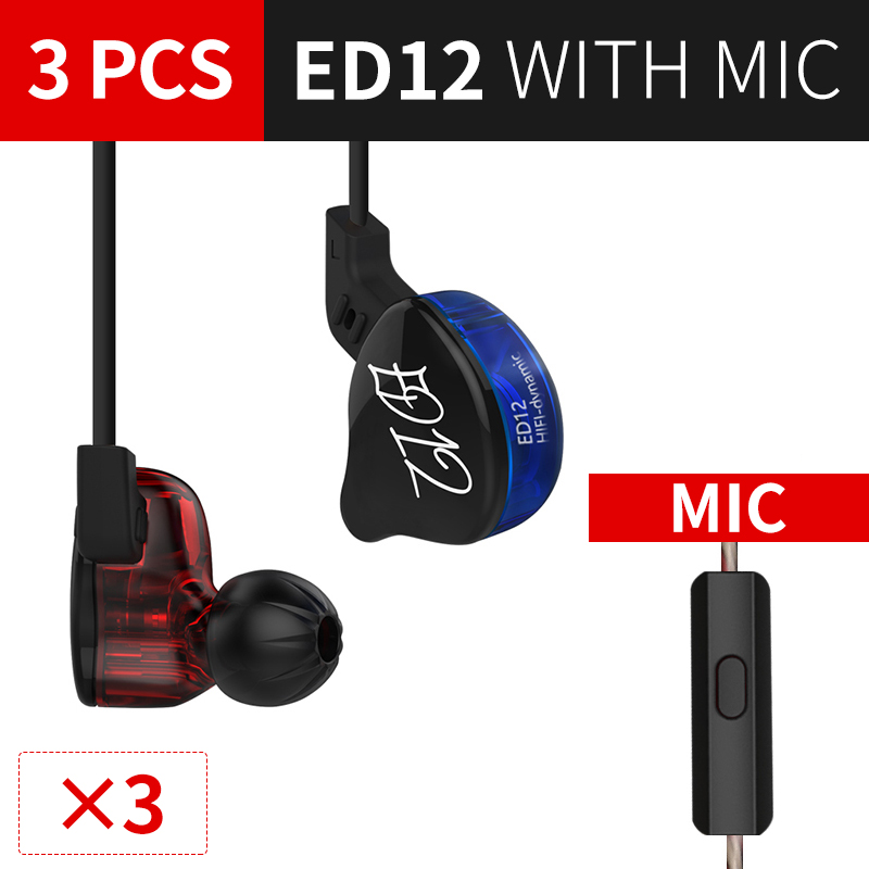 KZ ED12 Haedphone3PCS DJ Earphone Detachable Cable In Ear Audio Monitors Isolating HiFi Music Sports Earbuds With Microphone