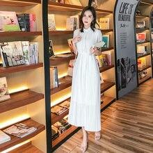 Melhor primavera 2019 vestido plissado longo verão casual mulheres cintura alta elascity