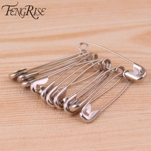 FENGRISE 100pcs Silver Tone Hijab Strong Safety Pins DIY Sewing Tools Finding Accessory Apparel Accessories