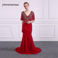 Yiwumensa Design Silver Bling Beading Mermaid Prom Dress 2017 Red Zipper Sexy Prom Dresses Graduation Gown