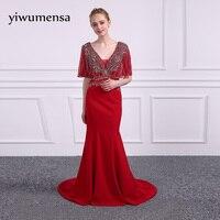 Yiwumensa Design Argento bling borda Sirena vestito Da Promenade 2017 della chiusura lampo Rosso sexy Prom Dresses graduation gown Vestido de fiesta