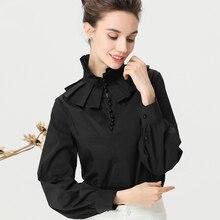 Detachable High Collar Women Shirt Long Sleeve Pearls Beaded White Pink Black Blouse Cotton Top Fashion Elegant OL Working Tops