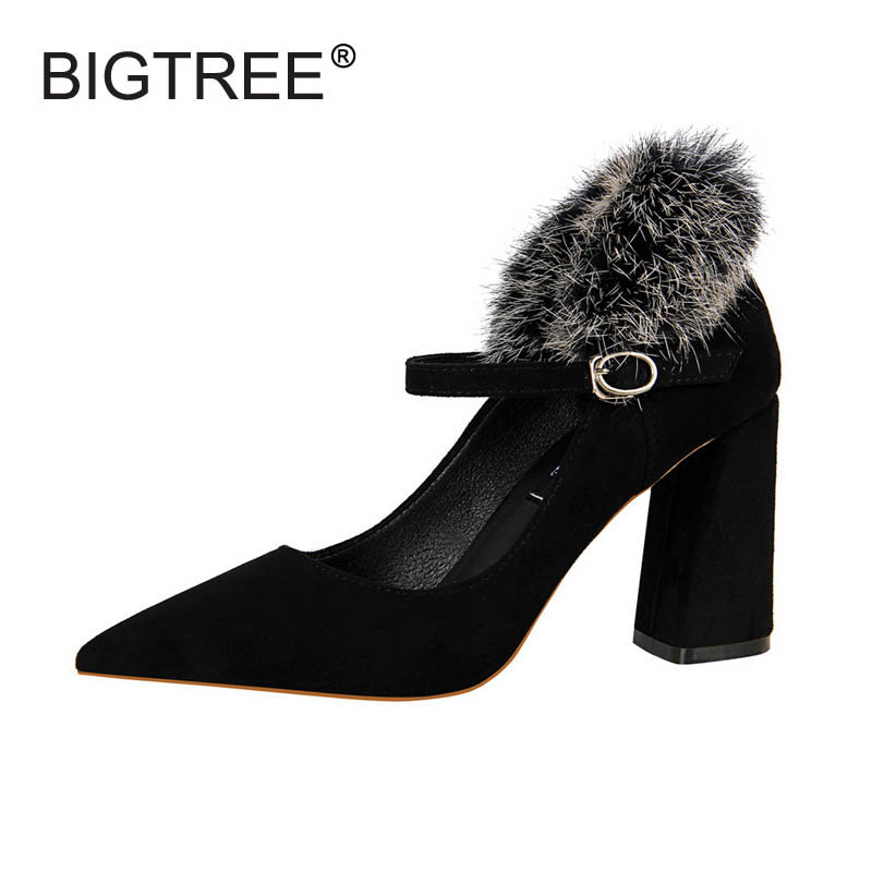 New Ladies Casual Rabbit Fur Square High Heels Shoes Fashion Pointed Toe Shallow Mouth Women Winter Pumps Female Mary Jane Shoes lin king fashion pearl pointed toe women flats shoes new arrive flock casual ladies shoes comfortable shallow mouth single shoes