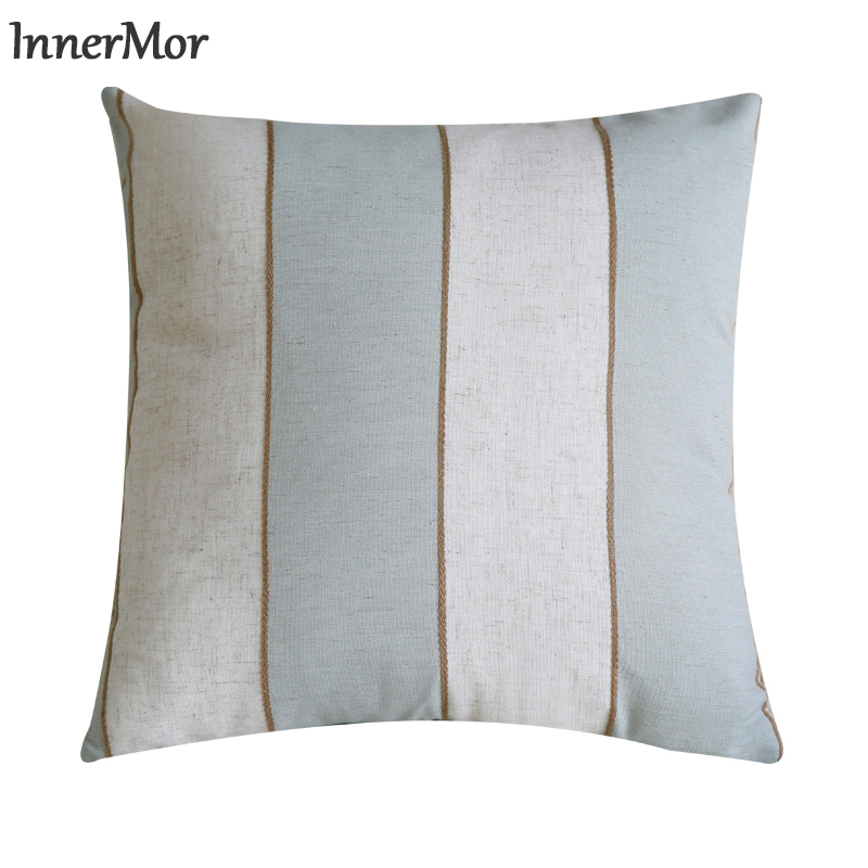 Innermor Two color Stripe Decor <font><b>Cushion</b></font> <font><b>Cover</b></font> soft simple Pillow Case Home modern decorative For sofa bed car seat45x45 <font><b>50x50</b></font> image