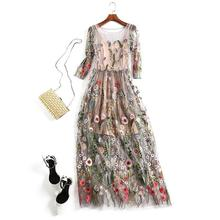 New fashion Embroidery Dresses Floral Bohemian Flare Flower Embroidered Vintage Boho Mesh Embroidery Dresses For Women s521
