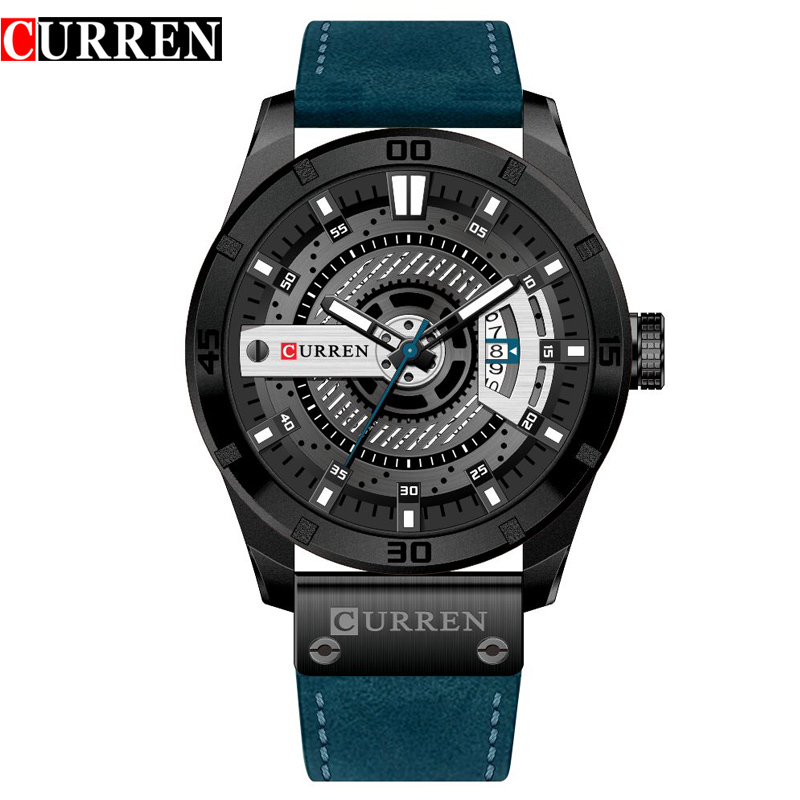 New CURREN Mens Casual Watches Top Brand Luxury Wrist Watches Male Clock Men Leather Strap Analog Quartz Military Watch Gift new curren men wrist watches top brand luxury man wristwatch full steel silver strap mens quartz watch calendar male hour clocks