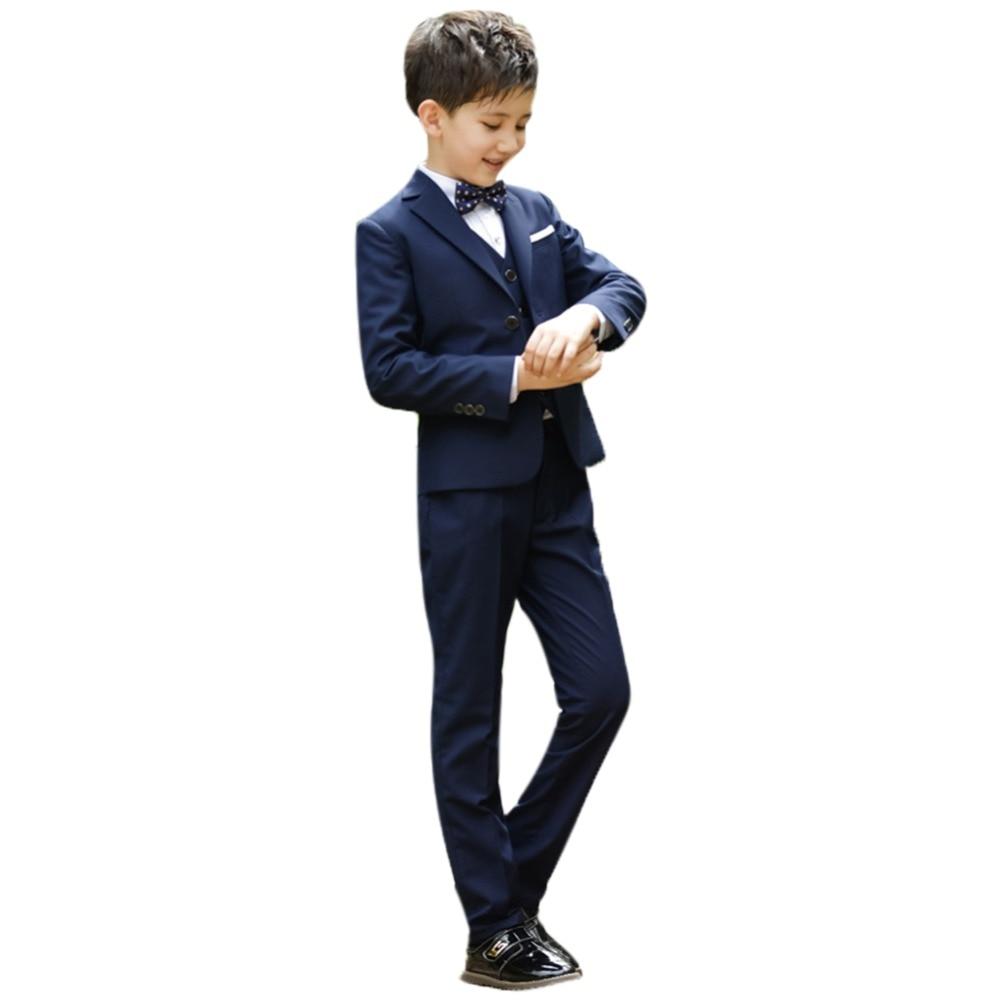 2019 mode 4 pièces vêtements de smoking ensemble pour enfant bébé garçon fête de mariage formel Blazers costume veste chemise nœud papillon pantalon garçons tenue
